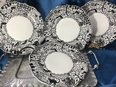 222 FIFTH 4 Dinner Plates Wiccan Lace Black White Halloween Gothic Spiderwebs