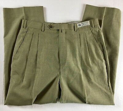 Cuseri Made in Italy Pleated Angelico Super 100's Wool Dress Pants sz 34 Beige