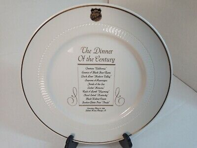 Vtg Dinner of the Century Palmer House Chicago Menu Plate USA Culinary Team 5/84