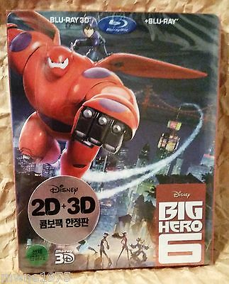 Walt Disney BIG HERO 6 Blu-Ray 3D+2D KOREA Limited Edition STEELBOOK + SLIPCOVER