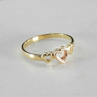 Vintage Solid 14K Yellow Rose Gold Ring Band Jewelry Heart Dainty Child Kid 4.2