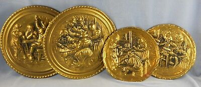 Vintage Lot of Four BRASS WALL POCKET Plates Two Sizes #923890 Made in ENGLAND