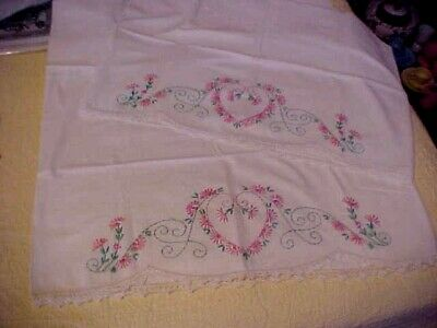 Vintage Embroidered Pillowcases w/ Pink Flowers Form a Heart