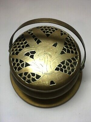 Antique Chinese Bronze Incense Burner & Handle & Plate