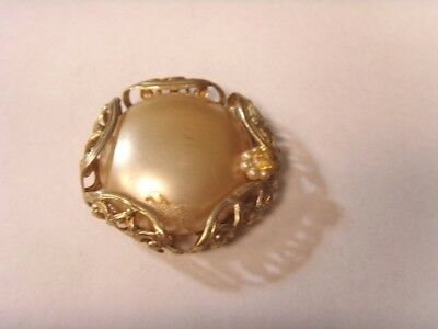 vintage gold tone metal filigree faux pearl moon disc large button pendant 46585