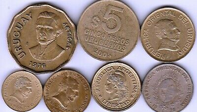 7 different world coins from URUGUAY