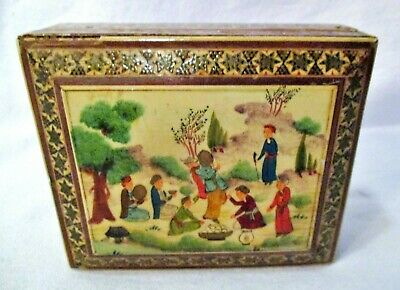 Oriental Lacquered Wood Wooden Trinket Box Hand Painted Ritual Offering People