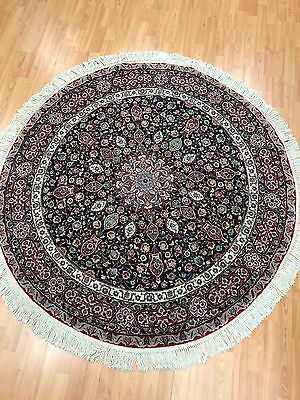 5' x 5' New Round Sino Chinese Floral Oriental Rug - Hand Made - Wool and Silk
