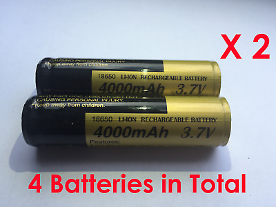 NEW 4x High Quality Li-Ion 18650 3.7V 4000mAh Rechargeable Lithium Batteries