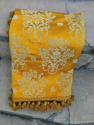 Gorgeous Antique French Silk Damask Fabric Panel Gold Yellow