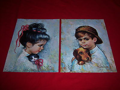 (2) vintage MEDEIROS art prints--1960s BIG EYED KITSCH WAIFS--litho USA--new NOS