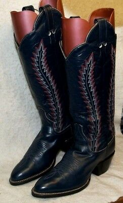 574a45cf366 LARRY MAHAN WOMEN'S Western High Calf Boots Black tooled Leather ...