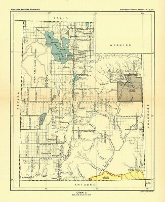 1896 map Utah 2 United States Indian land cessions POSTER 59