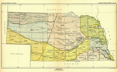 United States Indian land cessions POSTER 20 detail 1896 map Indiana