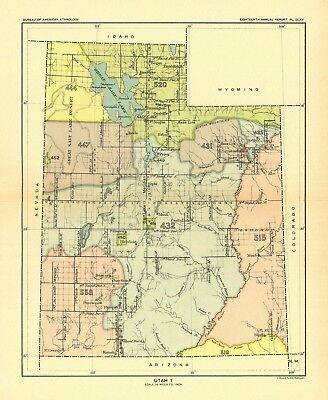 1896 map Utah 1 United States Indian land cessions POSTER 58