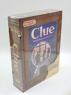 CLUE Game - Vintage Game Collection - WOODEN Bookshelf Wood Box 2009 *Damaged*