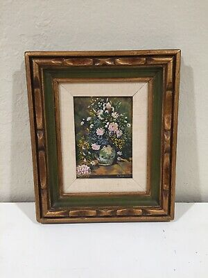 Oil Painting of Floral Arrangement Flowers 12.5 X 10.5 In Framed Signed O Zavada