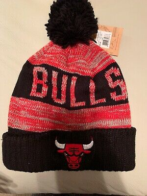 492ad9ae0bb CHICAGO BULLS CUFF Pom Knit Beanie Mitchell Ness NBA Winter Cap Hat ...