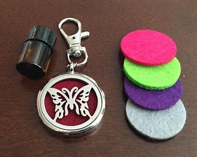 Essential Oils Diffuser w 4 Pads + EO Option - Key Ring Keychain Lobster Clasp
