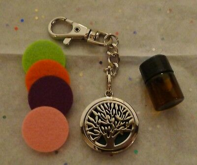 Silver Tree of Life Essential Oil Chain Diffuser w/ Washable Pads + Oil Option