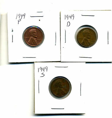 1949 P,d,s Wheat Pennies Lincoln Cents Circulated 2X2 Flips 3 Coin Pds Set#242
