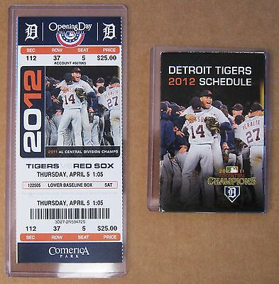 Detroit Tigers 2012 Opening Day Ticket Stub & 2012 pocket schedule