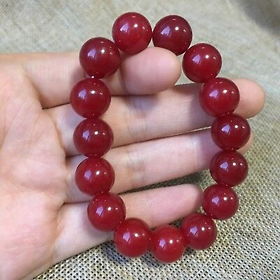 12mm NATURE red JADE BRACELET GREEN HAND CATENARY AAm0
