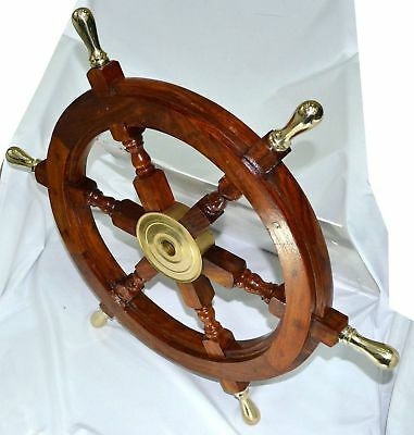 "Vintage 24"" Style Brass & Wood Ship Wheel Decor Mancave Pirate"