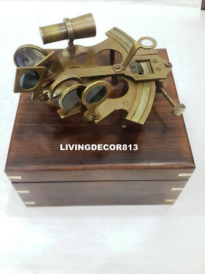 Nautical Maritime Brass Sextant  ASTROLABE  Gift Decor With Wooden Box