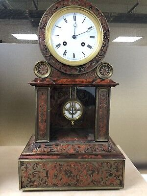Antique Original French boulle Brass Table Clock. Untouched Original Condition