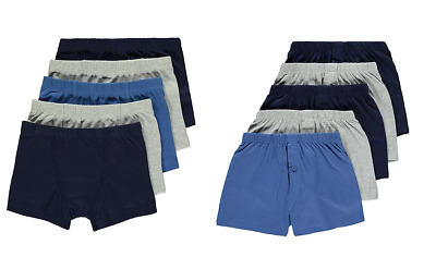 Boys Hipster or Boxers 5 Pairs Trunks Shorts Pants 100% Cotton Blue Navy Grey