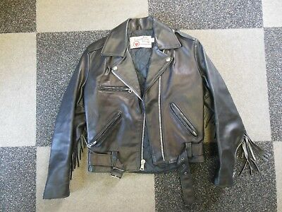 Ladies 8 Black Leather Biker Style Cycle Jacket Fringe Sears Leather Shop VGC!!!