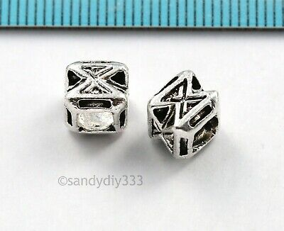 2x BALI STERLING SILVER CROSS CUBE SPACER BEAD 7mm #236