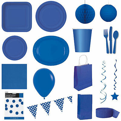 ROYAL BLUE Party TABLEWARE - Plates/Cups/Cutlery/Napkins/Tablecovers/Balloons