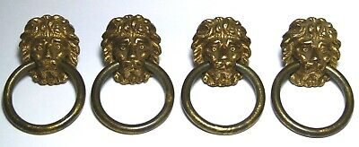 Set X 4 Vintage Brass Lion Head Chest Drawers/Cupboard Pull Handles Regency
