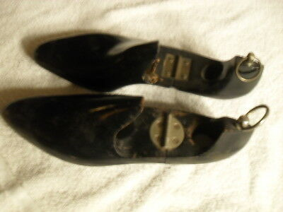 Vintage Pair Of Black Shoe Stretchers With Metal Hook And Hinge No Size Listed
