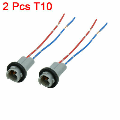 2pcs DC 12V Universal T10 Car Auto Wedge Light Bulb Base Socket Wire Adapter
