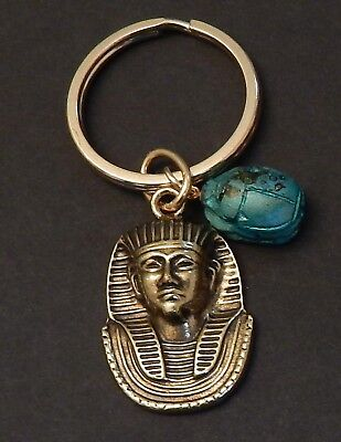King Tut Bust -   Key Chain with  Vintage Scarab  /  Antique Gold Tone