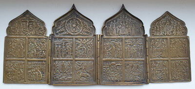 Antique Russian Ortodox 19th Century Brass 4-Folds Skladen Icon