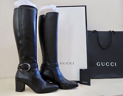 aefae1495b6 NEW GUCCI DIONYSUS Tall Leather Knee Boots Black Size 37.5 / 7.5 Retail  $1590