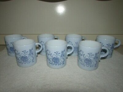 Vintage SET of 7 Pyrex Blue Brittany Pattern 489 Coffee Mugs Cups Flower 10 oz.