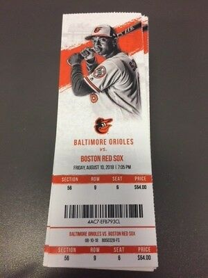 Mullins MLB Debut Baltimore Orioles Red Sox MINT Season Ticket 8/10/18 2018 Stub