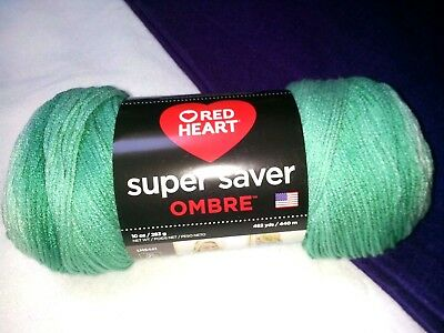 RED HEART Super Saver Ombre Yarn-scuba or spearmint 10oz NEW