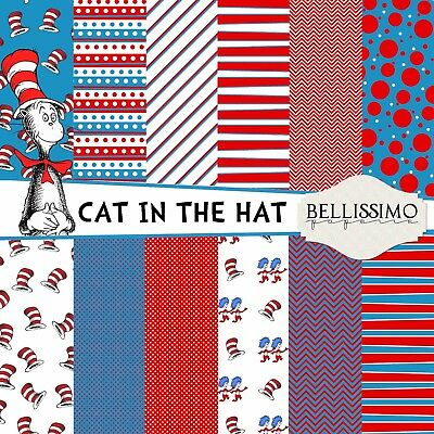 Dr Seuss Inspired Cat In The Hat Characters Photo Booth Props Set Of