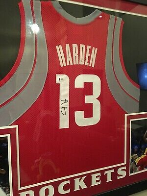 563004b0db1 JAMES HARDEN SIGNED Rockets 35x43 Custom Framed Jersey Beckett COA ...