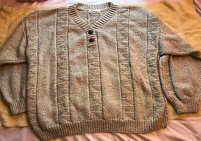 Mens Hand Knit Cream Wool Sweater Sz: Xxl - 1 Of A Kind - Hand Made By Laura