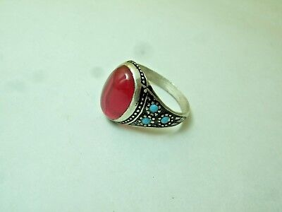 Vintage old art Persian Ruby silver Ring 4-gm sizes us:8.5,9,9.25,10.5