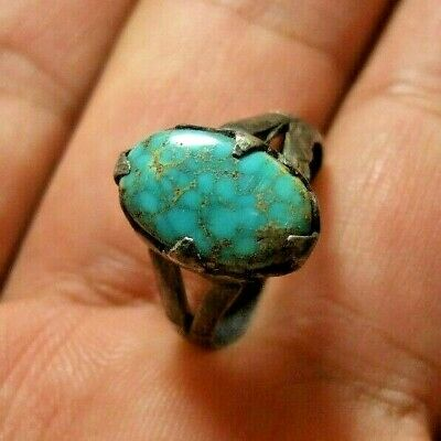 Natural Native tribal Turquoise 925 Sterling silver ring 3.10-gm sizes us:6.5