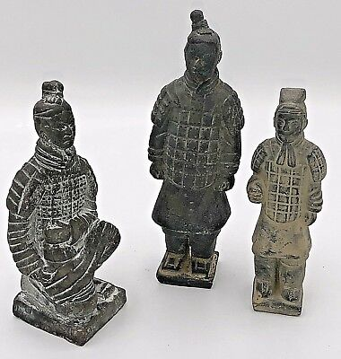 3 Antique Chinese Clay Soldiers Asian Terracotta Warriors Army of Qin Shi Huang