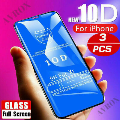 For IPhone X XS MAX XR 8 7 6 plus 10D Cover Tempered Glass Screen Protector Real